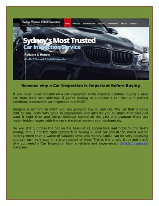 Reasons why a Car Inspection is Important Before Buying