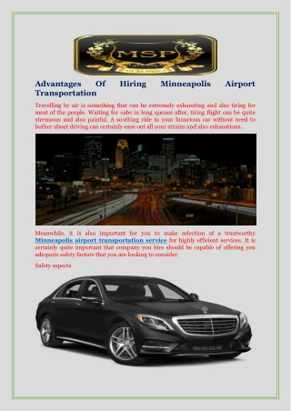 Advantages Of Hiring Minneapolis Airport Transportation