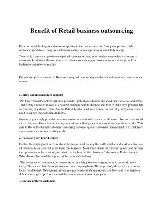 Benefit of Retail business outsourcing