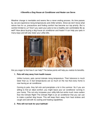 4 Benefits a Dog House air Conditioner and Heater can Serve