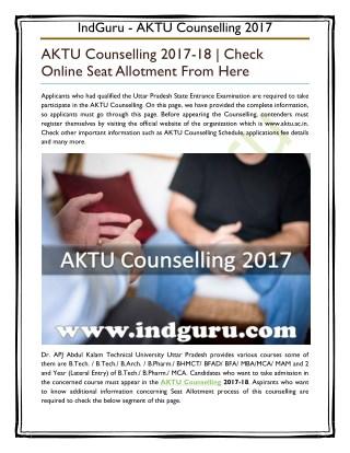 AKTU Counselling