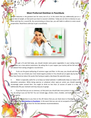 Most Preferred Dietitian in Panchkula