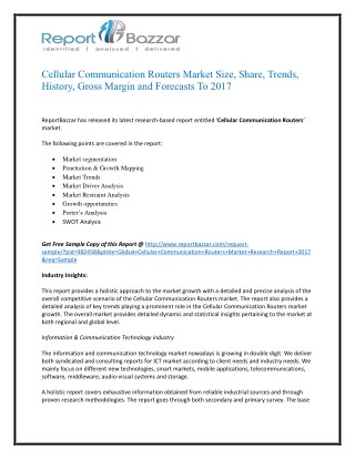 Cellular Communication Routers Market Analysis - Size, Share, overview, scope, Revenue, Gross Margin, Segment and Foreca