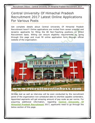Central University Of Himachal Pradesh Recruitment