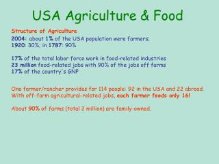 USA Agriculture  Food