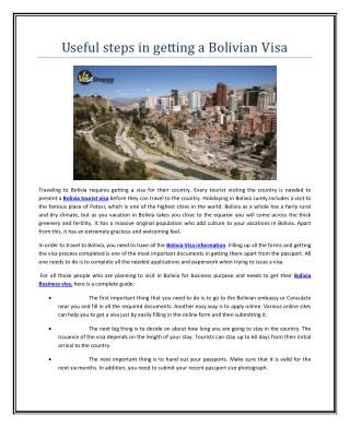 Useful steps in getting a Bolivian Visa