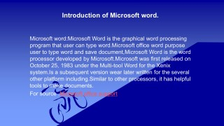Introduction of Microsoft Word