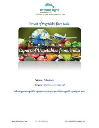 Export of Vegetables from India