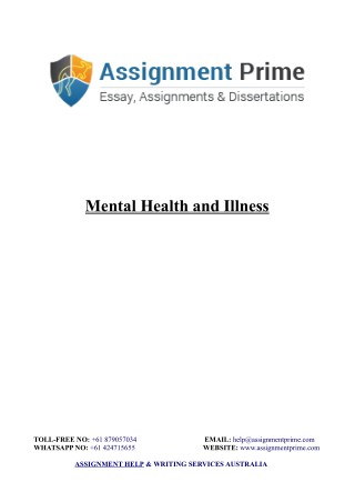 Sample Assignment: Mental Health and Illness