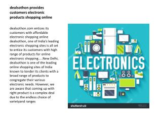 Dealsothon provides customers affordable electronic products shopping online