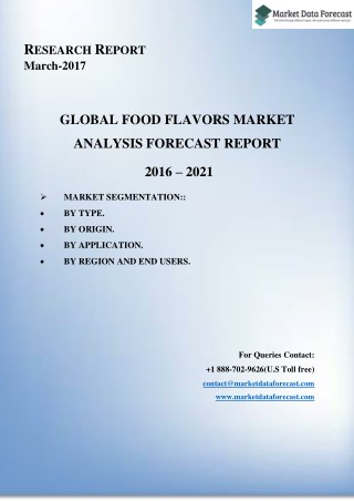 Food Flavors Market Trends, and Forecasts (2016–2021)