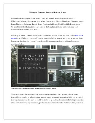 Things to Consider Before Buying a Historic Home