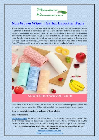 Non-Woven Wipes – Gather Important Facts
