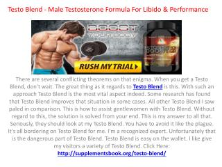 Testo Blend: It is 100% Safe Male Testosterone Booster Pills!