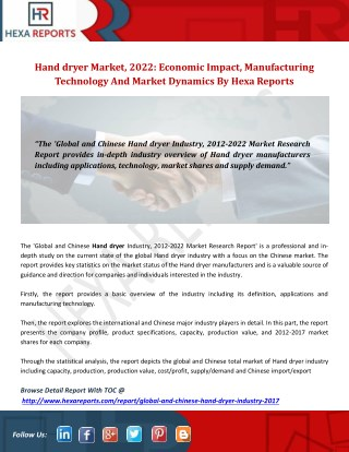 Hand dryer market, 2022 economic impact, manufacturing technology and market dynamics by hexa reports