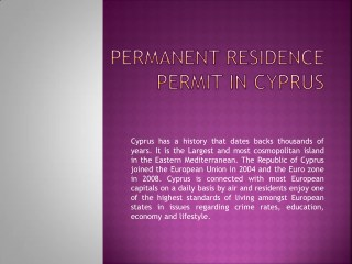 Permanent Residence Permit in Cyprus