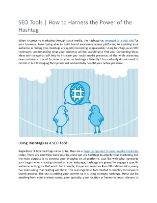 SEO Tools | How to Harness the Power of the Hashtag