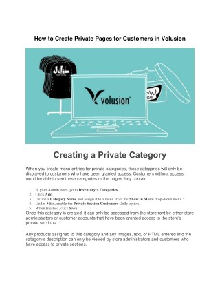 How to Create Private Pages for Customers in Volusion