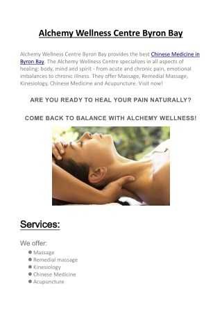 Alchemy Wellness Centre Byron Bay
