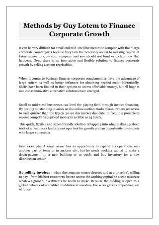 Methods by Guy Lotem to Finance Corporate Growth