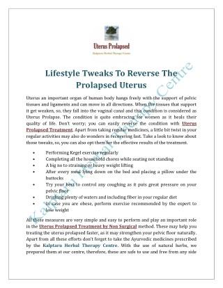 Lifestyle Tweaks To Reverse The Prolapsed Uterus
