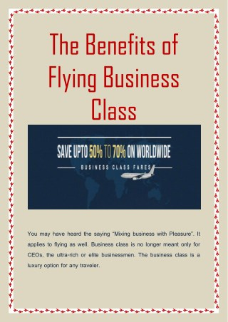 The Benefits of Flying Business Class