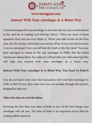 Interact With Your Astrologer in A Better Way