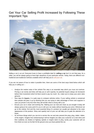 Get your car selling profit increased by following these important tips
