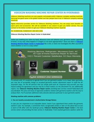 Videocon Washing Machine Repair Center in Hyderabad