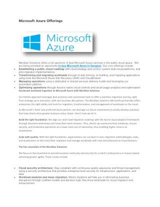 Microsoft Azure Offerings