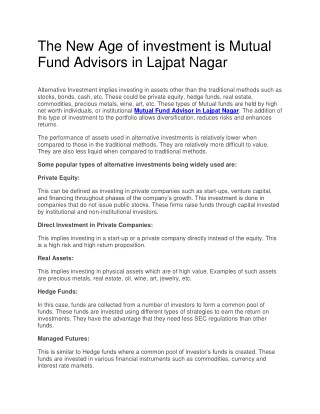 The New Age of investment is Mutual Fund Advisors in Lajpat Nagar