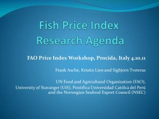 Fish Price Index  Research Agenda
