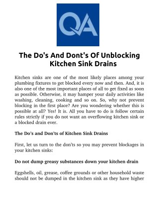 The Do's And Don'ts Of Unblocking Kitchen Sink Drains