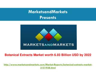 Botanical Extracts Market worth 6.03 Billion USD by 2022