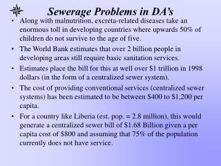 Sewerage Problems in DA s