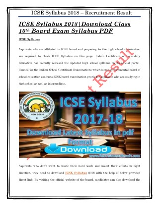 ICSE Syllabus 2018|Download Class 10th Board Exam Syllabus PDF