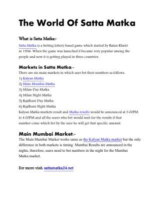 The World Of Satta Matka