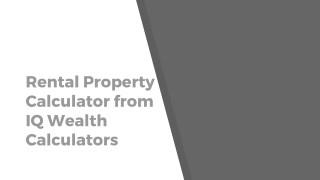 Rental Property Calculator | Investment Property Calculator