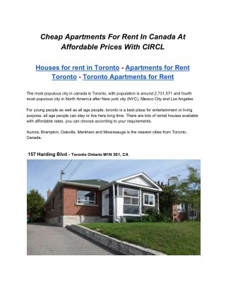 Cheap Apartments for rent in Canada, Toronto - Ontario