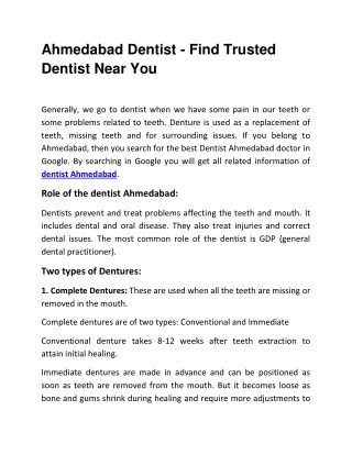 Ahmedabad Dentist - Find Trusted Dentist Near You