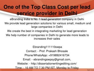 One of the Top Class Cost per lead service provider in Delhi