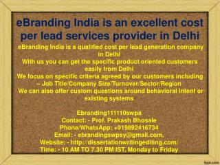 eBranding India is an excellent cost per lead services provider in Delhi