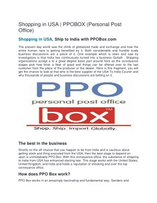 shopping in usa | PPOBox(Personal Post Office)