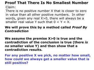 Proof That There Is No Smallest Number