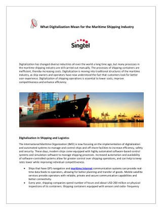 What Digitalization Mean for the Maritime Shipping Industry