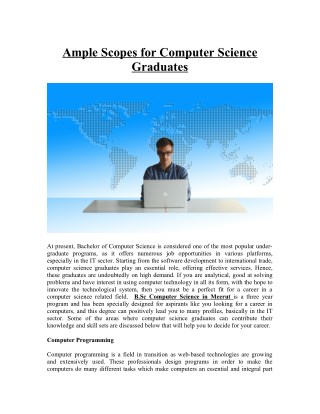 Ample Scopes for Computer Science Graduates
