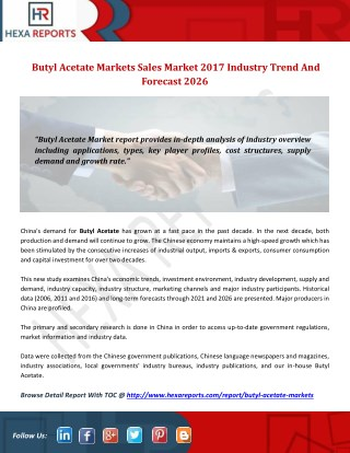 Butyl acetate markets sales market 2017 industry trend and forecast 2026