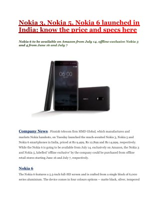 Nokia 3, Nokia 5, Nokia 6 launched in India; know the price and specs here