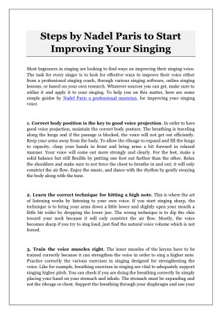 Steps by Nadel Paris to Start Improving Your Singing
