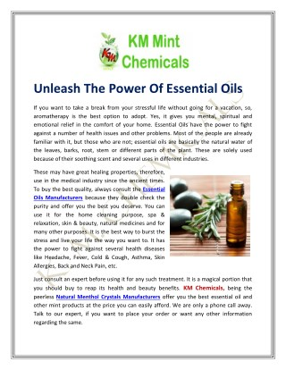 Unleash The Power Of Essential Oils